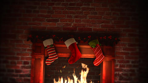 Animated close up fireplace and gifts in the Christmas socks on bricks background Animation