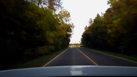 Rear View From Back of Car Driving Rural Forest Countryside Road During Day. Car Point of View POV Live Action