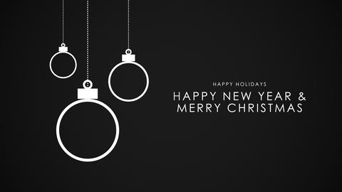 Animated closeup Happy New Year and Merry Christmas text, white balls on black background Animation