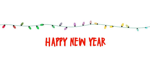Animated closeup Happy New Year text, colorful garland on white background Animation