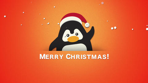 Animated closeup Merry Christmas text, funny penguin waving on orange background Animation
