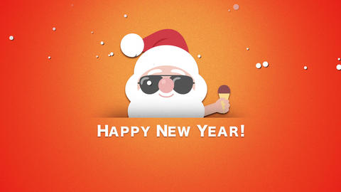 Animated closeup Happy New Year text, Santa Claus with ice cream Animation
