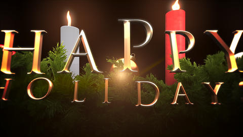 Animated closeup Happy Holidays text, green tree branches and candles Animation