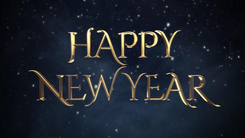 Animated closeup Happy New Year text, white snowflakes on blue background Animation