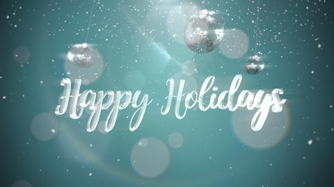 Animated closeup Happy Holidays text, silver balls on shine background Animation