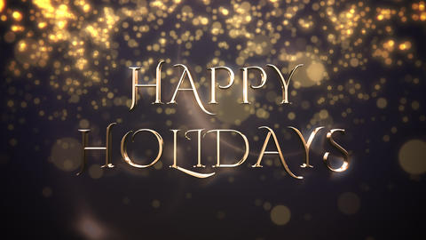 Gold abstract bokeh particles falling and animated closeup Happy Holidays text on shiny background Animation