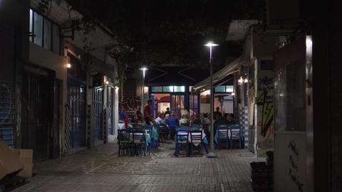 Hellenic nightlife video of people at outdoors tavern restaurants Footage