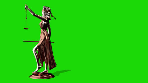 Statue of Justice, Themis, Femida with scales and a sword in his hands. 3d Footage