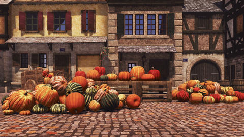 Autumn pumpkins at country market in small village Footage