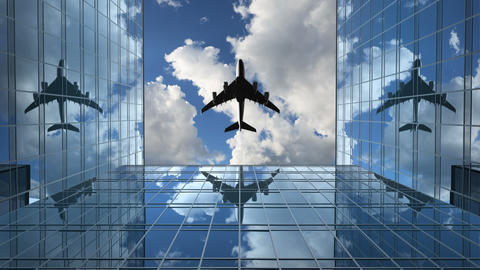Airplane Flies in the Reflections on the Office Buildings Animation