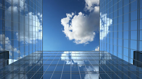 Office Buildings and a Time-Lapse Clouds Animation