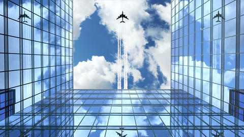 Airplane Flies Leaving Trace Over Office Buildings Animation