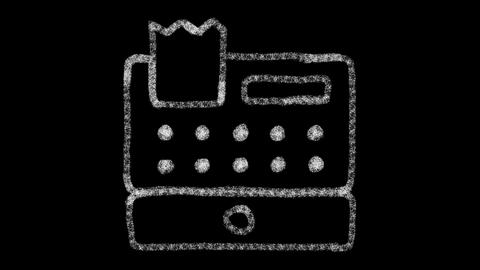 cash register icon, designed with drawing style on chalkboard, animated footage Live Action