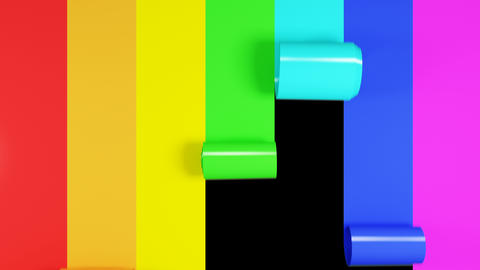 Beautiful Colorful Stripes Covering the Screen, Making Rainbow. 3d Animation of Footage
