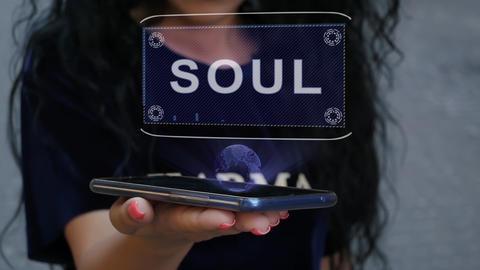 Woman showing HUD hologram Soul Live Action