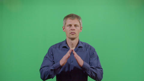 Adult Man With The Hands In Praying Position Footage