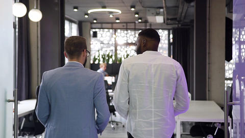 Back view of multiracial young business people walking through the beautiful Live Action