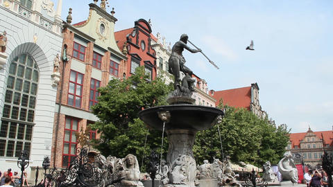 Beautiful tourist Polish city of Gdansk. Beautiful architecture in Polish city Gdansk Live Action