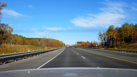 Rear View From Back of Car Driving Rural Highway During... Stock Video Footage