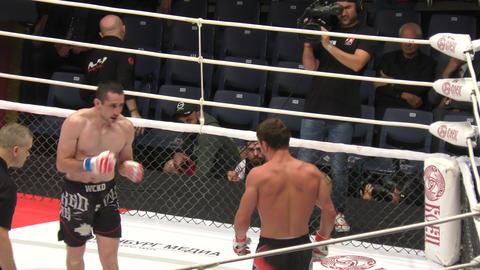 Orenburg, Russia - August 30, 2019: Men compete Mixed martial arts (MMA) – M - 1 Challenge 104 Footage