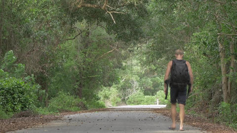 Male Backpacker Walking on Road in the Jungle - Hiking Traveler - Ungraded Footage