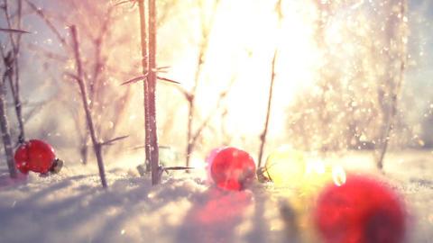Christmas balls and snowfall close-up slowmotion Footage