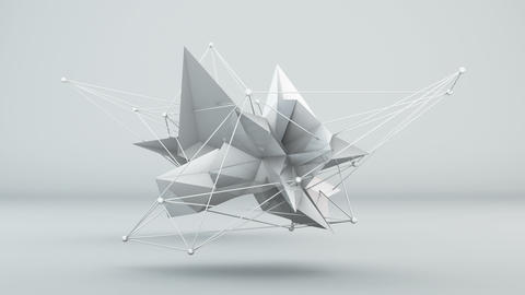 Futuristic white 3D shape in studio. Loop Animation