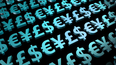 Currency Symbols Seamless Loop in Blue Animation