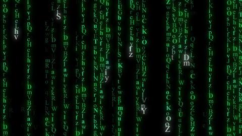 Green alphabet matrix rain. Seamless loop animation Animation