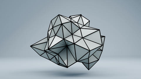 Polygonal 3D shape in studio. Loop Animation