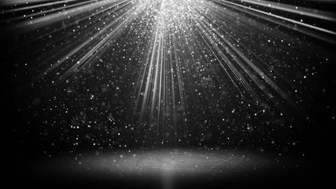 White light beams and particles on black loopable background Animation