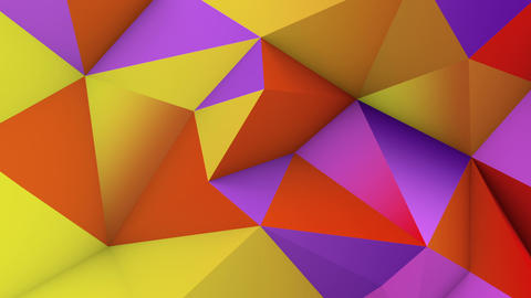 Vivid color low poly surface. Abstract 3D render loop Animation