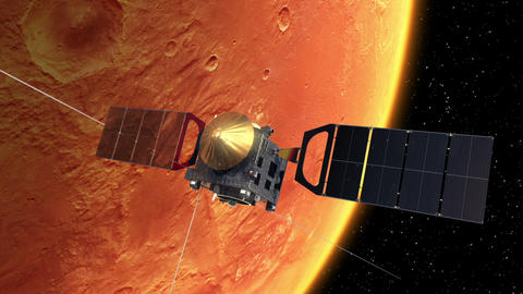 Interplanetary Space Station Deploys Solar Panels In Orbit Of The Mars Animation