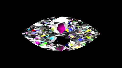 Iridescent Diamond Marquise. Looped. Alpha Matte Animation