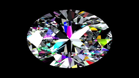 Iridescent Diamond Oval. Looped. Alpha Matte Animation