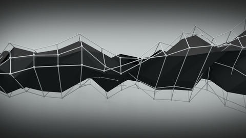 Polygonal black contruction. Abstract 3D render animation loop Animation