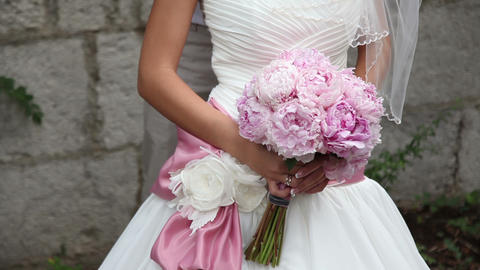 Weddings bouquet of peonies Footage
