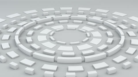 White circular elements rotating loopable 3D render Animation