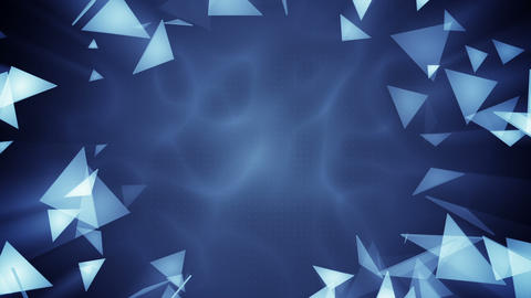 Glass triangles flying. Seamless loop abstract 3d render animation Animation
