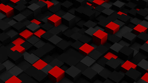 Red and black 3D boxes. Loopable abstract background Animation