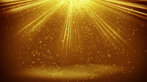 gold light beams and particles loopable background Footage