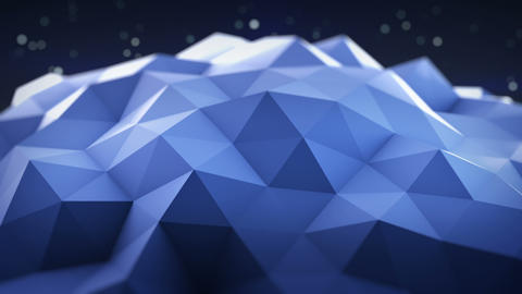 Blue polygonal shape vibrating seamles loop 3D render Footage