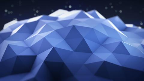 Blue polygonal shape vibrating seamles loop 3D render Footage