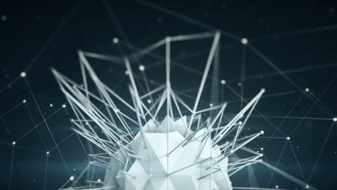 Polygonal network shape. Abstract 3d render animation loop Footage