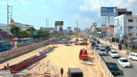 Road reconstruction on sukhumvit street time lapse Footage