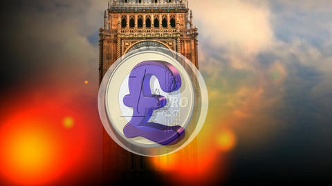 04 3d animated template about brexit money euros and pound Animation