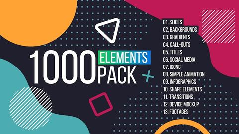 1000 Elements. Graphics Tool Pack. (Transitions, Typography, Footages, and much more)