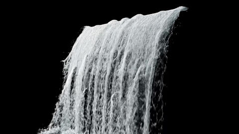 Waterfall texture loop 4K with isolated on black with alpha Footage