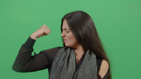 Muscular Woman Flexing Arm Live Action