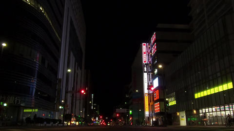 Japanese urban area. Night intersection Footage